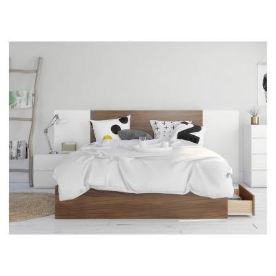 4pc Queen Hera Bedroom Set Walnut/White - Nexera