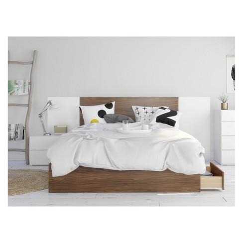 Hera 4pc Bedroom Set Queen Walnut/White - Nexera