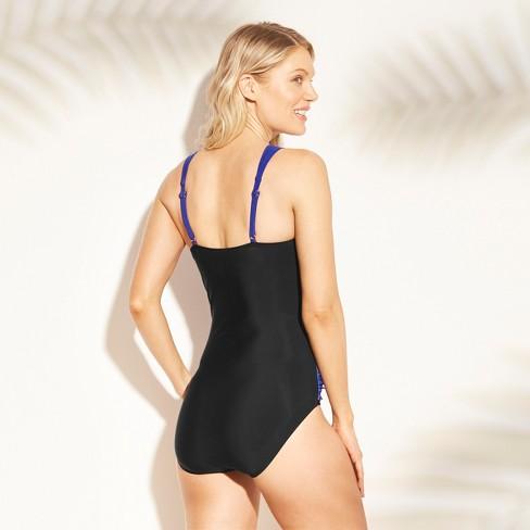 21f6ab1200 Women's Shirred One Piece Swimsuit - Aqua Green® Sapphire L : Target