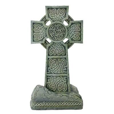"""Roman 16"""" Irish Celtic Cross Religious Outdoor Patio Garden Statue - Gray/Green"""