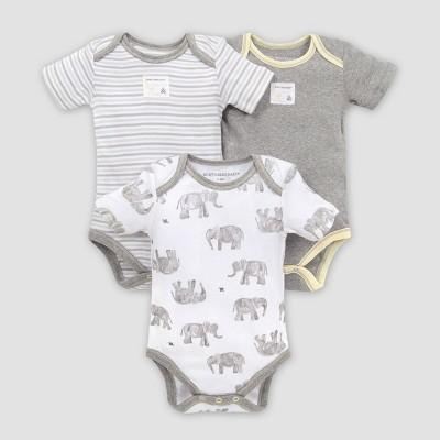 Burt's Bees Baby® Baby 3pk Wandering Elephants Bodysuit Set - Gray 3-6M