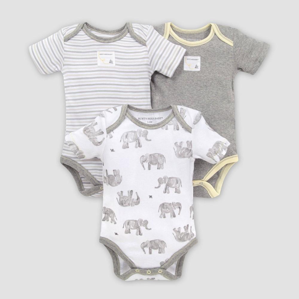Image of Burt's Bees Baby Baby 3pk Wandering Elephants Bodysuit Set - Gray 0-3M, Kids Unisex