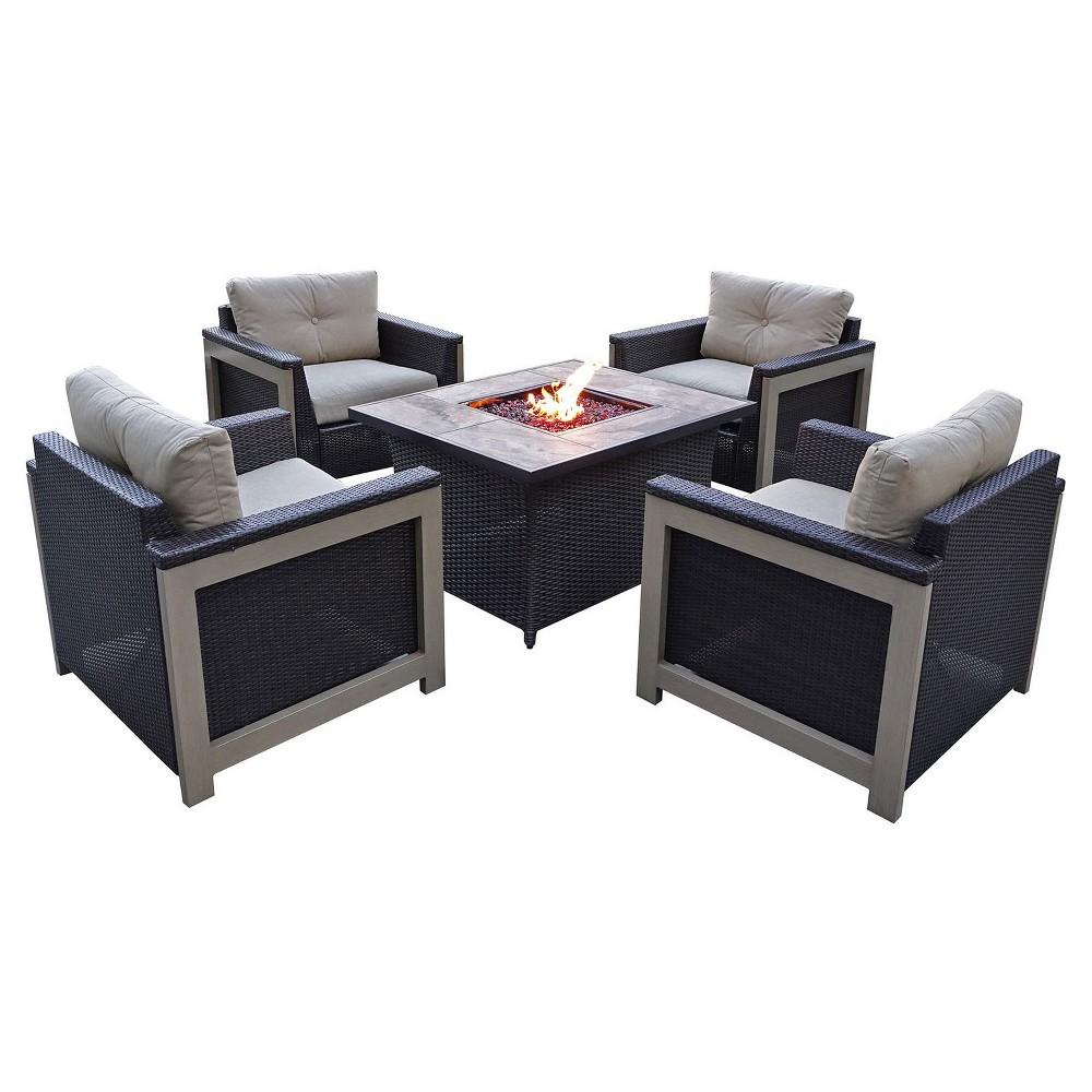 Montana 5pc All-Weather Wicker Patio Chat Set w/ Fire Pit Table - Tan - Hanover