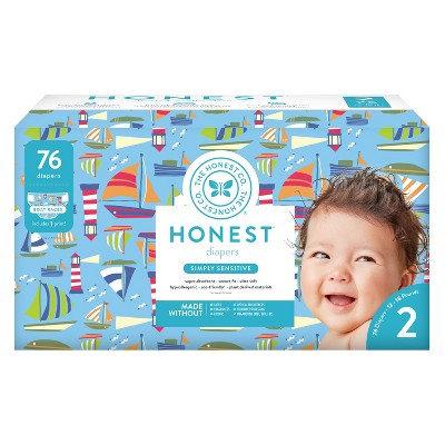 Honest Company Disposable Diapers Club Pack, Boat Races - Size 2 (76ct)