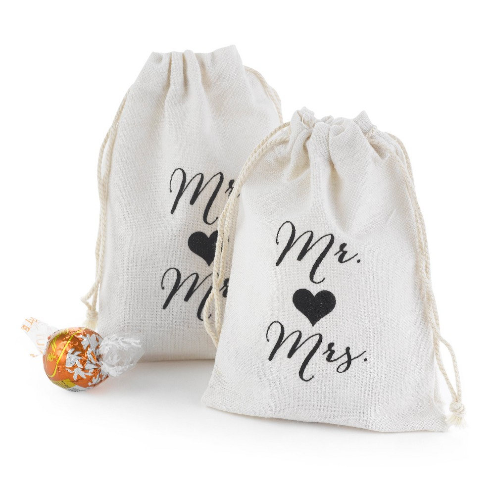 Image of 25ct Mr and Mrs Cotton Favor Bags, White