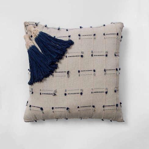 Square Washed Texture Bed Pillow Blue - Opalhouse™ - image 1 of 4