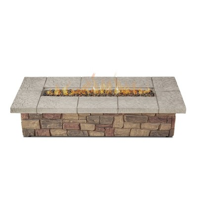 Sedona 66  Rectangle Gas Fire Table with Natural Gas Kit Beige - Real Flame