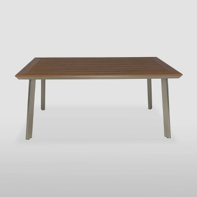 Leeds Rectangle Aluminum Dining Table - Silver/Natural - Christopher Knight Home