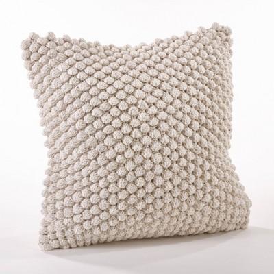 Crochet Down Filled Pom-Pom Throw Pillow Ivory - Saro Lifestyle