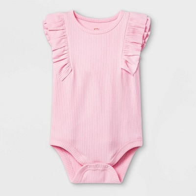 Baby Girls' Ruffle Ribbed Bodysuit - Cat & Jack™ Pink Newborn