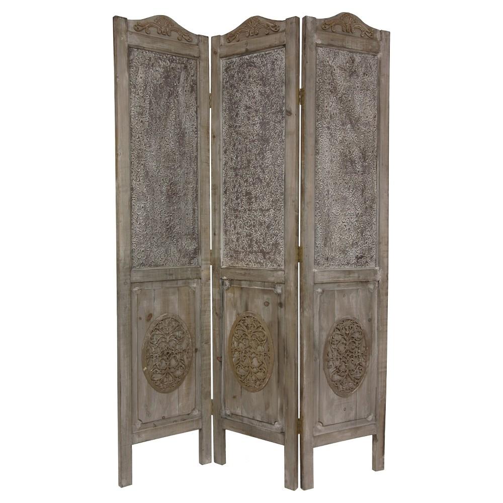6 ft. Tall Closed Mesh Design Room Divider - Oriental Furniture, Antique Wood