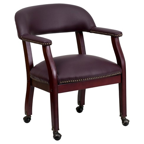 Conference Chair with Casters Burgundy Leather - Flash Furniture - image 1 of 4