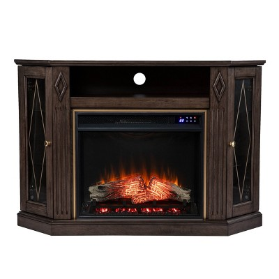 Stonstian Touch Panel Fireplace with Media Storage Brown/Gold - Aiden Lane
