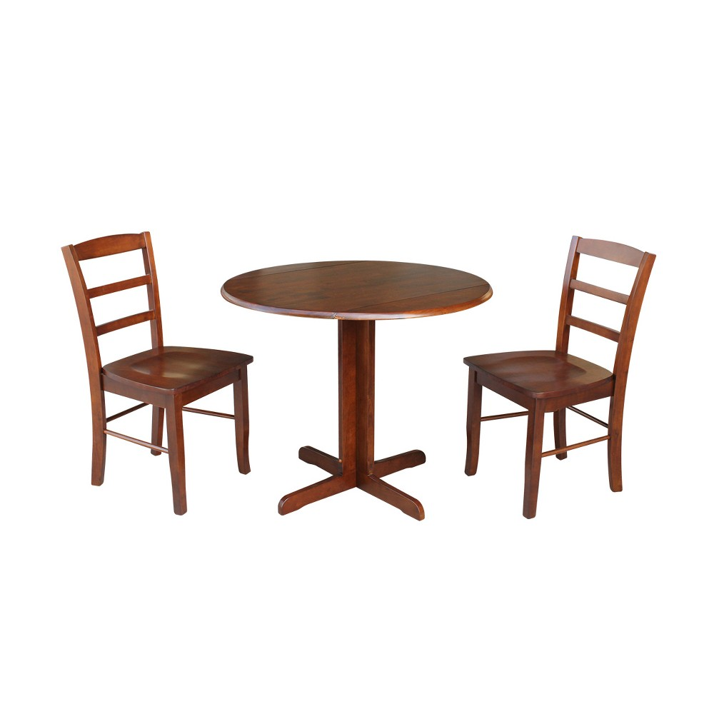 36 Dual Drop Leaf Dining Table with Two X Back Chairs Espresso (Brown) 3pc Set - International Concepts