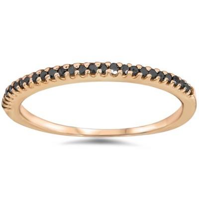 Pompeii3 1/10ct Black Diamond Stackable Ring 14K Rose Gold