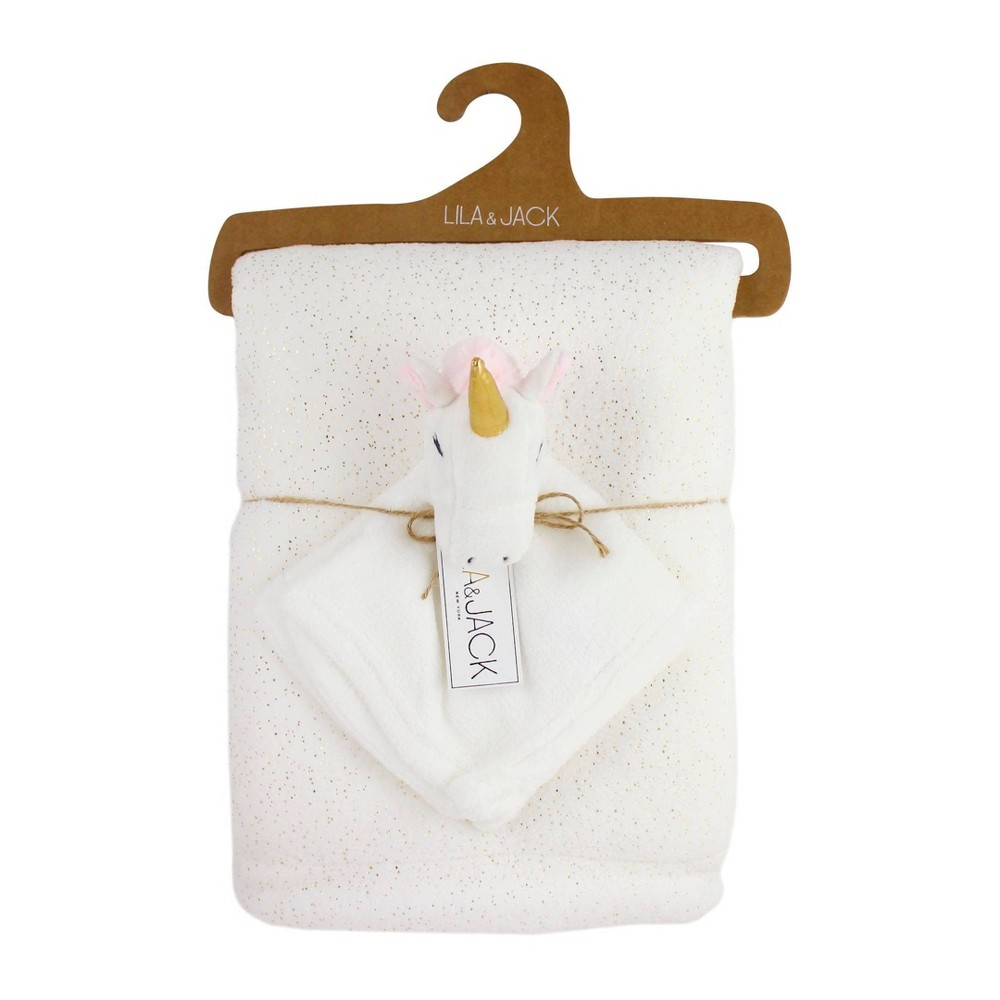Image of Lila and Jack White with Gold Metallic Fleece Kids Throw with White Unicorn Lovey Set