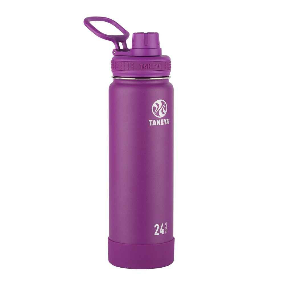 Takeya Actives 24oz Insulated Stainless Steel Bottle with Insulated Spout Lid - Purple