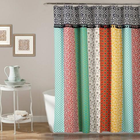 Geometric Boho Patch Shower Curtain - Lush Dcor - image 1 of 4