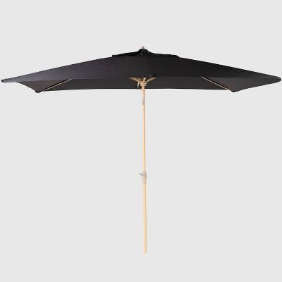 6.5' x 10' Rectangular Patio Umbrella Black - Light Wood Pole - Threshold™