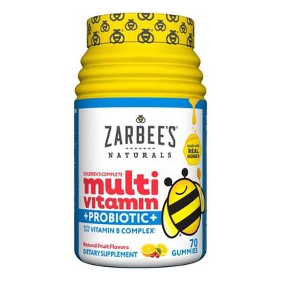 Zarbee's Naturals Children's Complete Multivitamin + Probiotic Gummies - Natural Fruit Flavor - 70ct