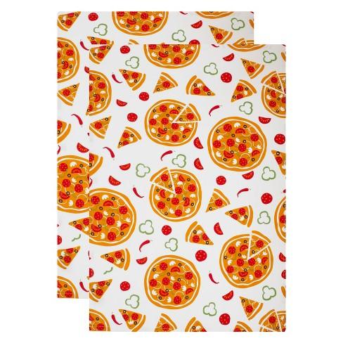 2pk Pizza Party Kitchen Towel White/Orange - Mu Kitchen - image 1 of 3