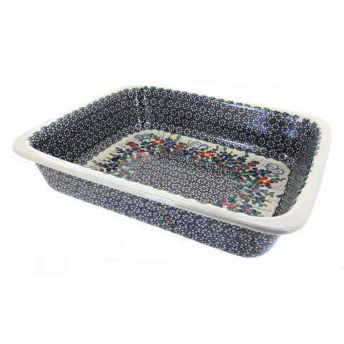 Blue Rose Polish Pottery Garden Butterfly Lasagna Dish - image 1 of 1
