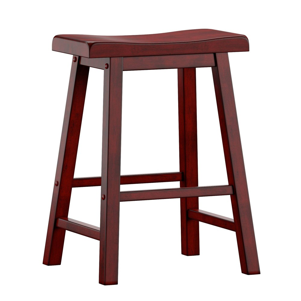 Enjoyable 24 Set Of 2 Chimney Hill Saddle Counter Stool Red Inspire Q Pdpeps Interior Chair Design Pdpepsorg