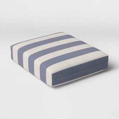 Cabana Stripe Outdoor Seat Cushion DuraSeason Fabric™ Navy - Threshold™