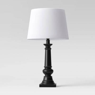 Small Column Lamp Linen Shade Black/White - Threshold™