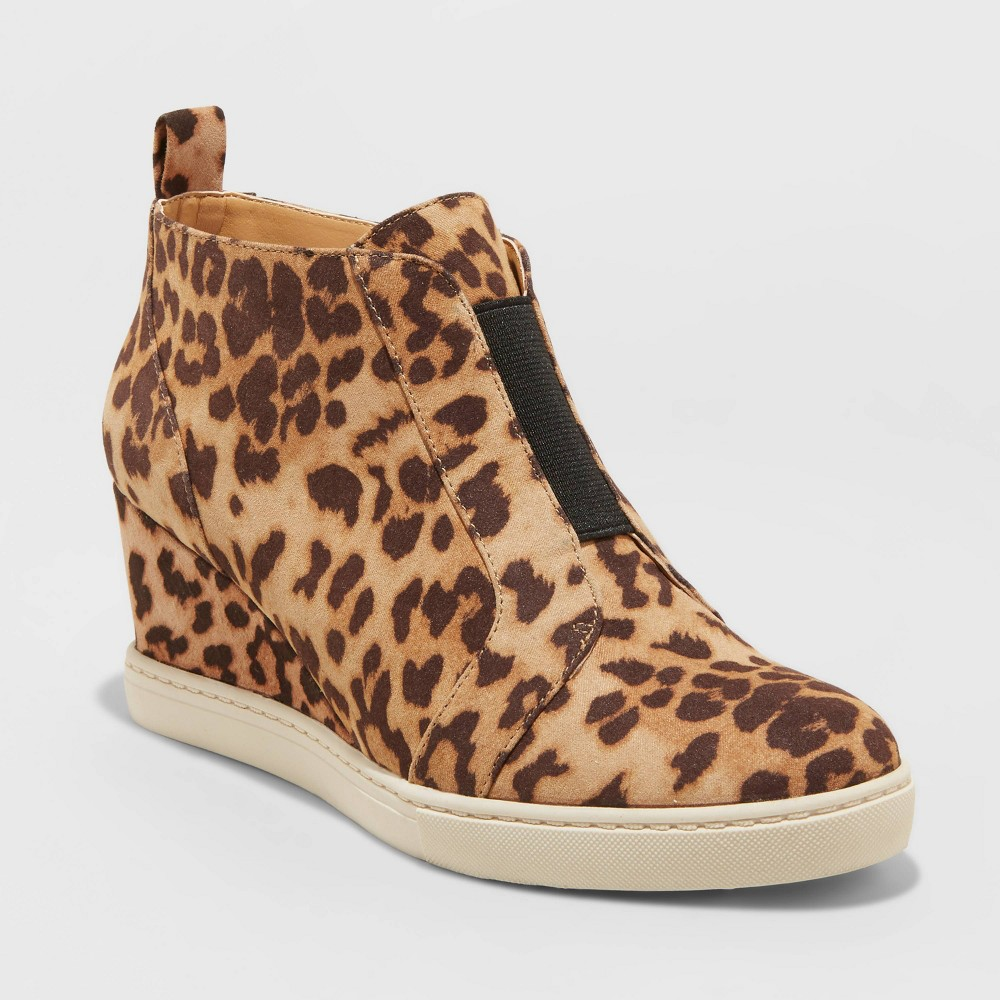 Cheap Women's Kolie Leopard Print Heeled Sneakers - A New Day™ Brown