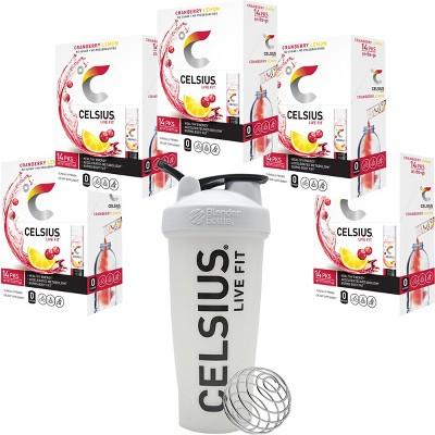 CELSIUS On-The-Go Energy Drink Powder Sticks (5 Pack) with Blender Bottle Shaker