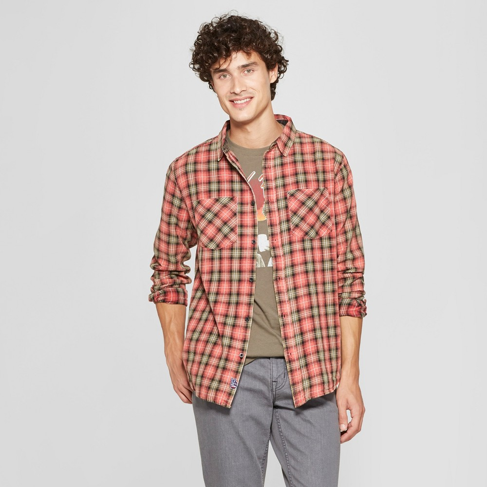 Junk Food Men's Plaid Rock & Roll Long Sleeve Flannel Button-Down Shirt - Red M