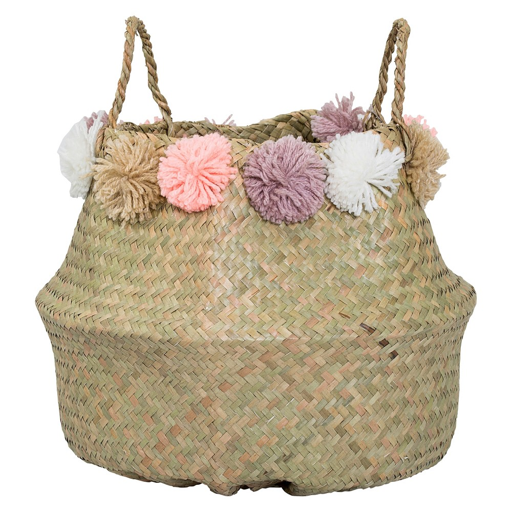 Seagrass Basket With Wool Flowers (15) - Natural - 3R Studios