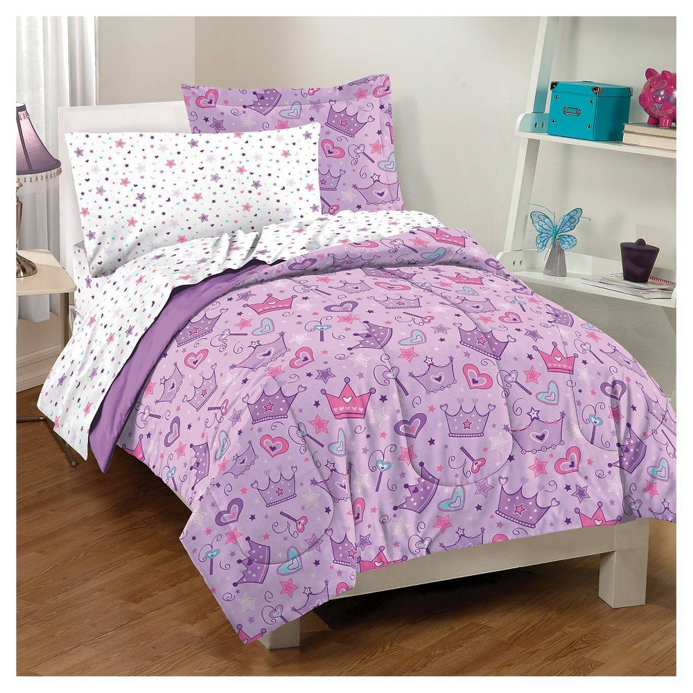 Image of Dream Factory Stars & Crown Mini Bed-in-a-Bag - Purple (Full)