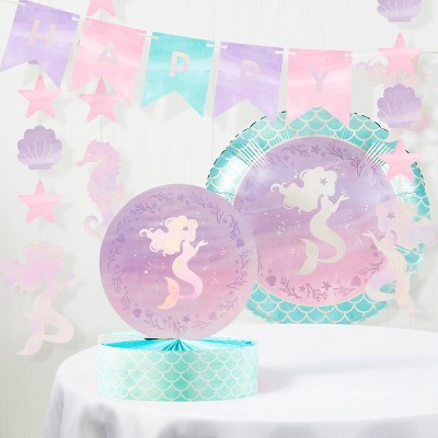 Mermaid Print Iridescent Birthday Party Decoration Kit