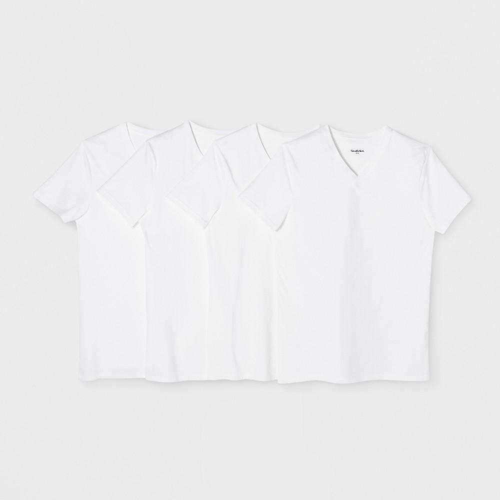 Mens V Neck T Shirts 4pk Goodfellow Co White L