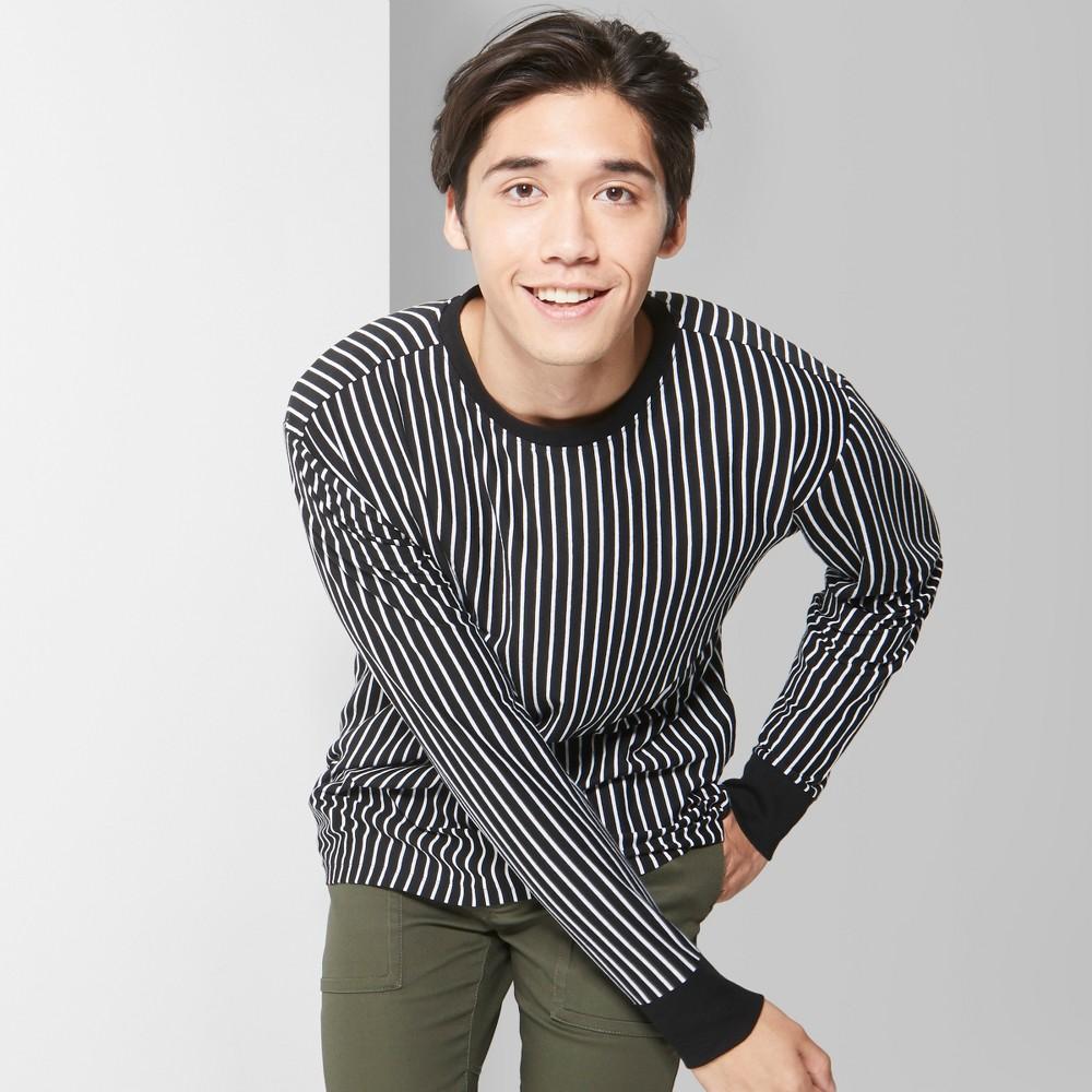 Men's Striped Long Sleeve Boxy T-Shirt - Original Use Jet Black L