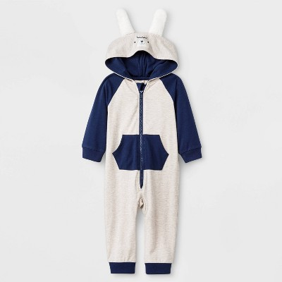 Boys' Long Sleeve Hooded Critter Romper - Cat & Jack™ Light Gray 12M