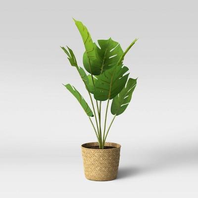 Faux Monstera in Basket Pot Brown/Green - Opalhouse™
