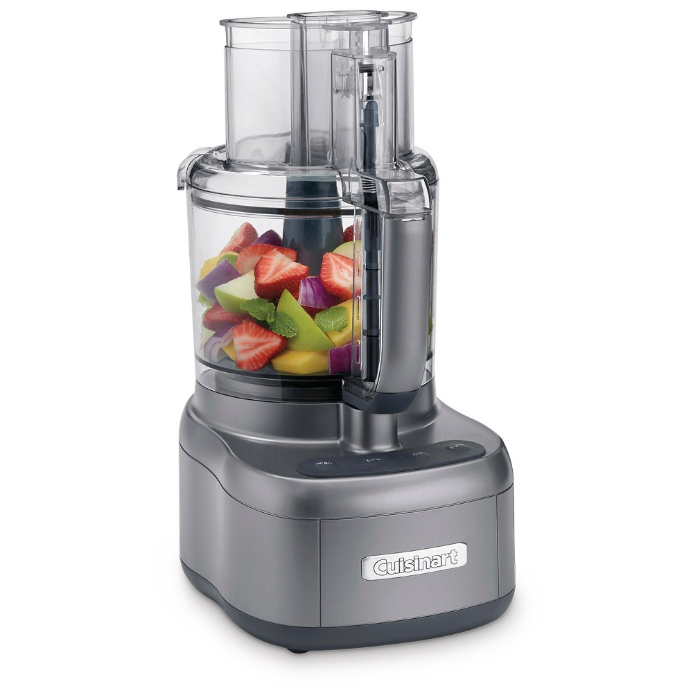Cuisinart Elite 11 Cup Food Processor - Gun Metal (Grey) FP-11GM Get chopping in a flash with the Cuisinart 11 Cup Food Processor. This large 11-cup food processor shreds, chops, mixes, slices and kneads. The powerful motor really gets the job done with ease. For even more precise results the convenient press and pulse button gives you the control you want. The razor sharp stainless-steel chopping blade will glide right through - creating the perfect salsa. Food processors make chopping fun – you'll be making your own hummus, pesto and garlic aioli in no time at all. Color: Metal.