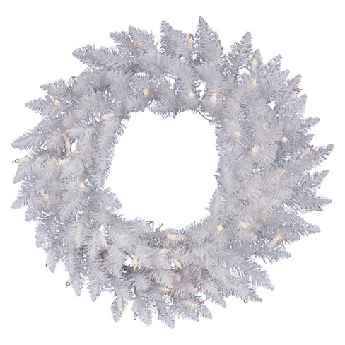 "48"" Pre-Lit Christmas Wreath Sparkle White With White LED Lights - image 1 of 1"