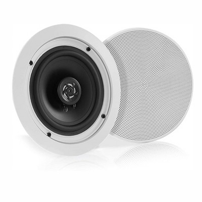 Pyle PDICBT552RD 150W Flush Mount in Wall or Ceiling 2 Way Bluetooth Speaker System Pair Kit with Round Cone and Polymer Tweeter, White