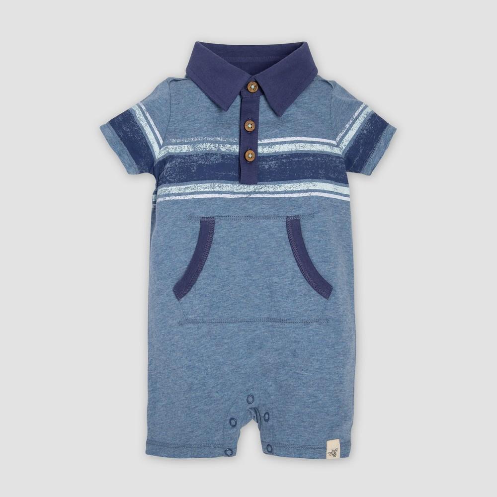 Burt's Bees Baby Baby Boys' Organic Cotton Retro Stripe Polo Romper - Bluish Gray 6-9M, Blue