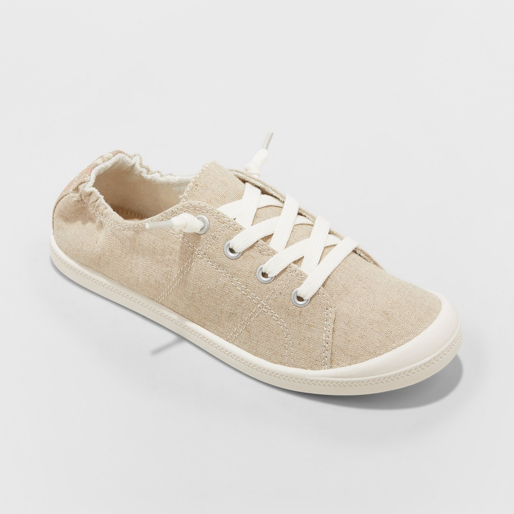 Women's Mad Love Lennie Wide Width Lace-up Canvas Sneakers - Tan 8W, Size: 8 Wide