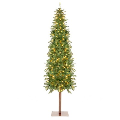 Best Choice Products Pre-Lit Pencil Alpine Christmas Tree Holiday Decoration w/ LED Lights, Stand