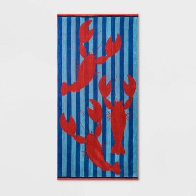 Lobster Stripe Beach Towel XL Blue - Sun Squad™