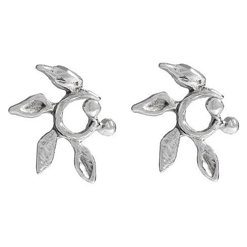 Women's Journee Collection Sterling Silver Circled Vine Stud Earrings - Silver - image 1 of 2
