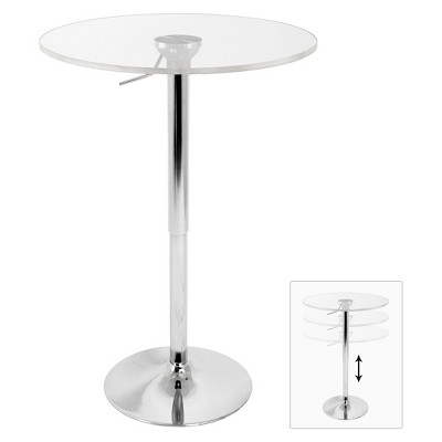 Adjustable Bar Table Acrylic/Silver/Clear   LumiSource