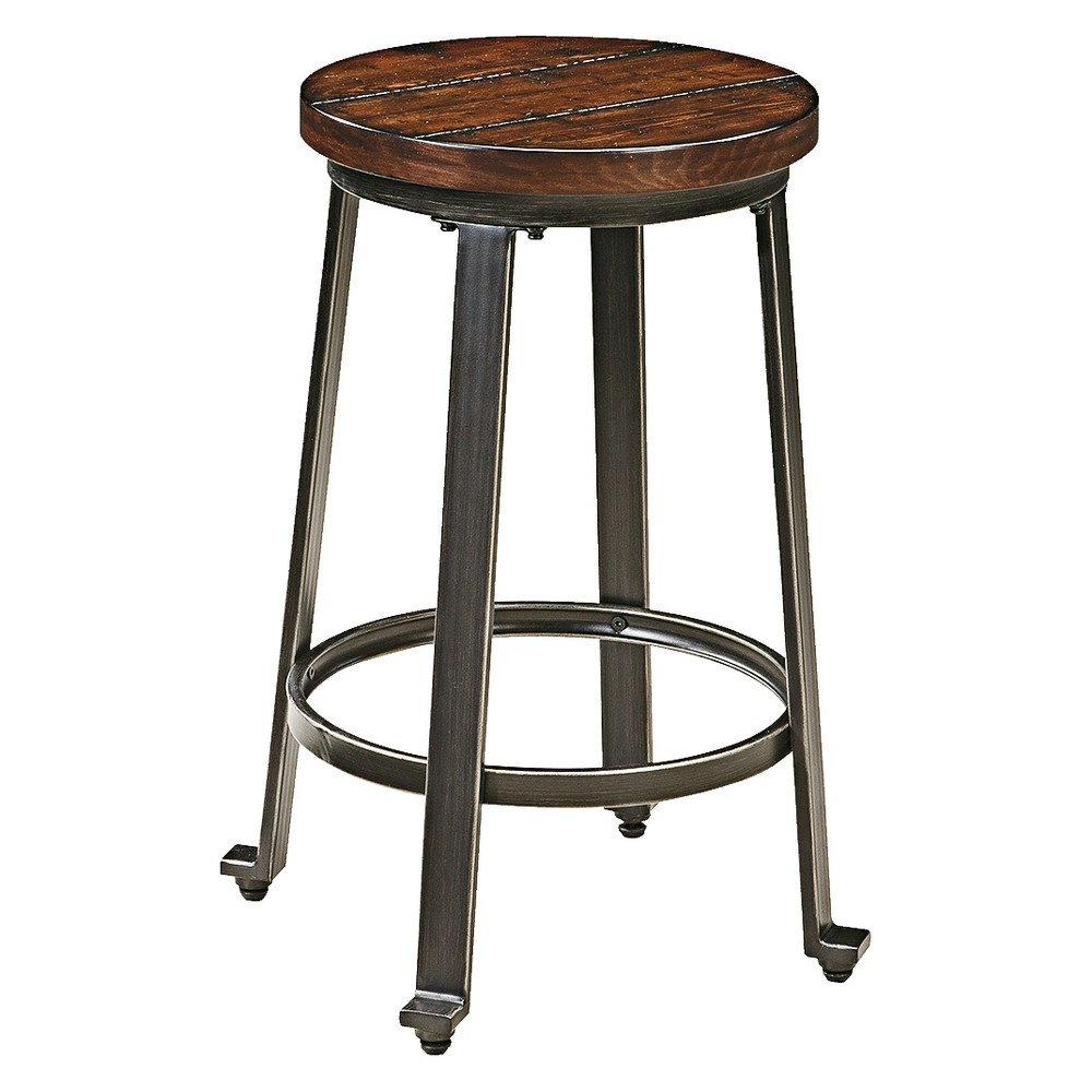 Challiman 23.5 Barstool (Set of 2) Brown Clay - Signature Design by Ashley