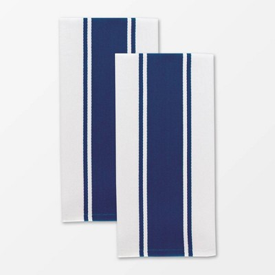 Set of 2 Classic Stripe Towel Navy - MU Kitchen
